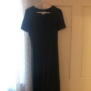 Hunter green 100% cotton linen front slit dress